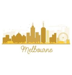 Melbourne City skyline golden silhouette vector image vector image