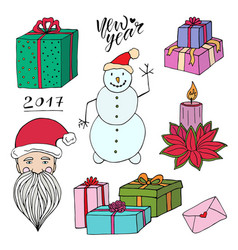 New year doodle set with santa gifts and snowman vector