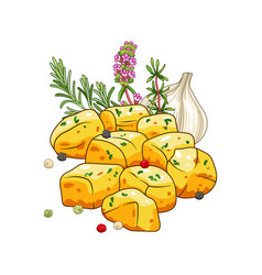 Potatoes dish with spices vector