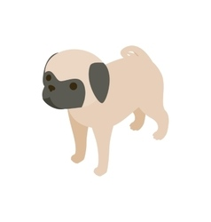 Pug dog icon isometric 3d style vector image vector image