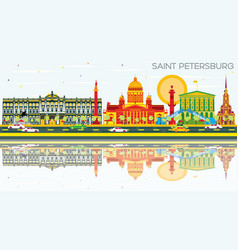 Saint petersburg skyline with color buildings vector