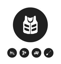 Set of 5 editable building icons includes symbols vector