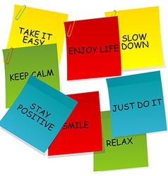 Sheets of paper with motivational and positive vector image vector image
