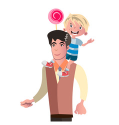 son sits on his father s back vector image vector image