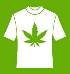 t-shirt with print of cannabis icon green vector image vector image