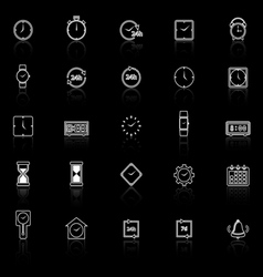 Time line icons with reflect on black background vector