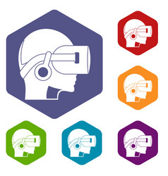 Vr headset icons set hexagon vector