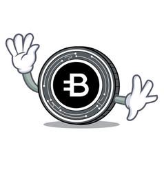Waving bytecoin coin character cartoon vector