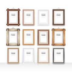 Wooden rectangle frames set vector
