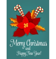Christmas flower and candy greeting card design vector