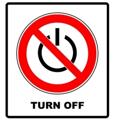 Power symbol and prohibition sign black out no vector