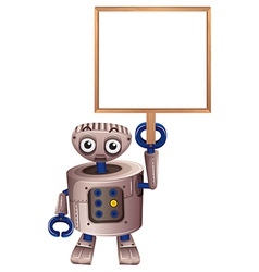 A robot holding an empty board vector image