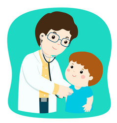 Little boy on medical check up with male vector