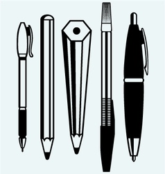 Pencil pen and fountain pen icons vector