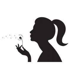 Girl with dandelion vector