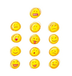 Set of grunge smiles vector