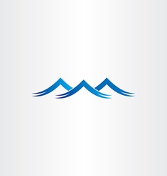 Blue water waves stylized symbol vector