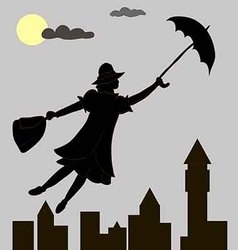 Girl floats under the moon with an umbrella in his vector