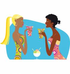 Girls drinking cocktails vector