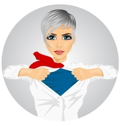 Businesswoman with superhero suit under her skirt vector