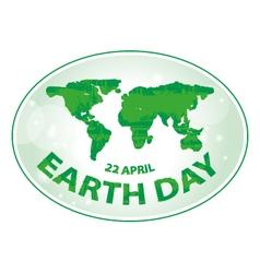 Earth day green grunge map banner vector