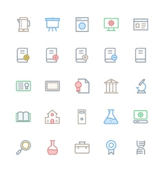User interface colored line icons 30 vector