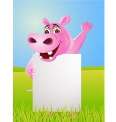 Hippo cartoon with blank sign vector