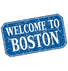Welcome to boston blue square grunge stamp vector