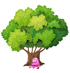 A poisoned pink monster under the tree vector
