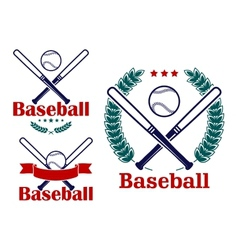 Baseball emblems or badges designs vector image