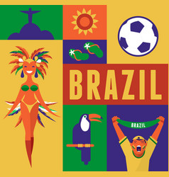Brazil background with icons and vector image vector image
