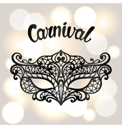Carnival invitation card with black lace mask vector image