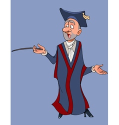 Cartoon male teacher in gown and hat vector