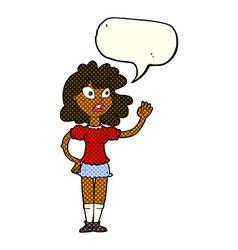 Cartoon worried woman waving with speech bubble vector