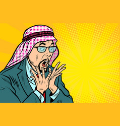 Close-up face surprise delight arab businessman vector