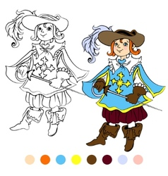 Coloring book kids play musketeer theme 4 - eps10 vector