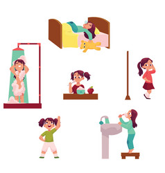 Daily morning routine set little girl vector
