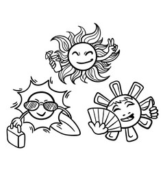 doodle monochrome summer vacation concept vector image