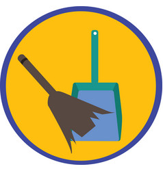 Dustpan and broom vector image