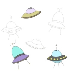 Educational game connect the dots to draw UFO vector image