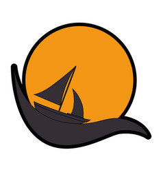 emblem with sailboat icon vector image