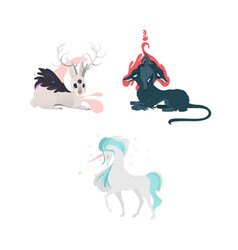 Flat cartoom myhical animals set vector