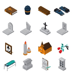 Funeral Isometric Icons Set vector image
