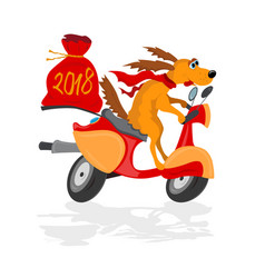 funny dog on a scooter with a gifts sack vector image vector image