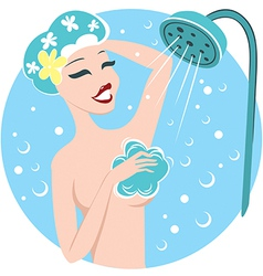 Girl in shower vector image vector image