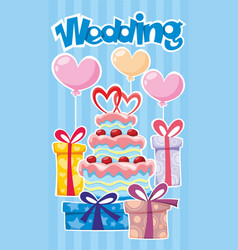 Greeting wedding poster vector