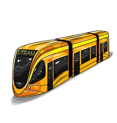 Hand drawn of modern tram car for print web vector