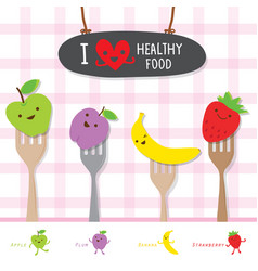 healthy food fruit diet eat useful vitamin cartoon vector image vector image