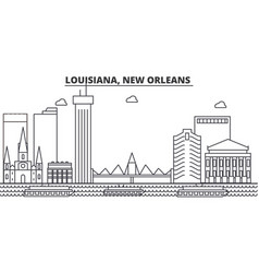 Louisiana new orleans architecture line skyline vector