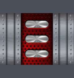 Metal background with red perforation and oval vector
